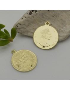 ciondolo medaglia moneta 17.5 x 20 mm col oro in zama 2 pz fai da te