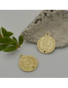ciondolo medaglia moneta 14.5 x 17 mm col oro opaco in zama 2 pz fai da te