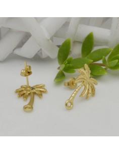 base Orecchini a perni forma Ciondolo Albero COCCO oro 12.5 x 19 mm in zama per i tuoi orecchini alla moda