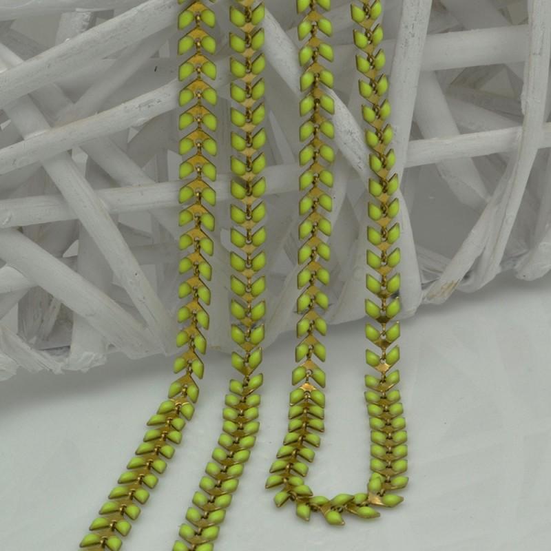 catena spina di pesce smaltato 6,5 mm con base oro in ottone col verde limone 50 cm fai da te
