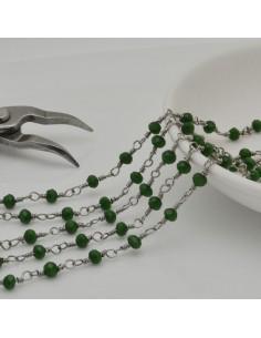 catena rosario in acciaio concatenata con cristalli 4 mm col verde scuro 50 cm per fai da te