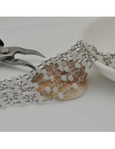 catena rosario in acciaio concatenata con cristalli 4 mm col ghiaccio 50 cm per fai da te