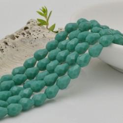 goccia cristalli cinese briolette sfaccettata 6 x 7.5 MM col verde tiffany scuro filo 72 pz per orecchini collana