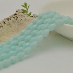 goccia cristalli cinese briolette sfaccettata 6 x 7.5 MM col Celadon chiaro filo 72 pz per orecchini collana