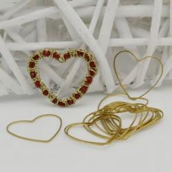 cerchio vuoto chiuso forma cuore in ottone naturale spessore 0.8 mm 6 pz per orecchini collana