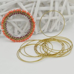 cerchio vuoto chiuso forma rotonda 50 mm in ottone naturale spessore 0.8 mm 5 pz per orecchini collana