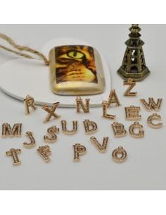 ciondoli lettere Alfabeto iniziale con zircone 7 x 11 mm in rame colore oro chiaro 1 pz per fai da te