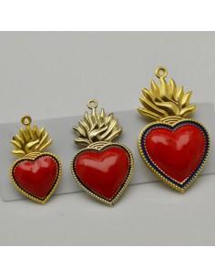 ciondoli forma cuore sacro base oro e smaltato rosso in ottone misura varia per le tue creazioni