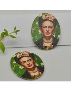 2 PZ Ciondoli Elemento 4 FORI pendente in legno con disegno Frida Kahlo 30 x 40 mm