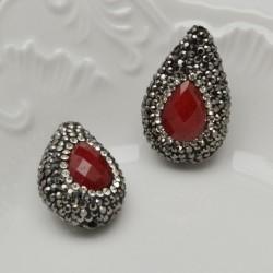 perle forma goccia con marcasite e pietre col rubino 20 x 18 mm orecchini pendente per le tue creazione