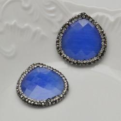 perle forma goccia piatta con marcasite e pietre zirconi blu 30 mm orecchini pendente un foro alto