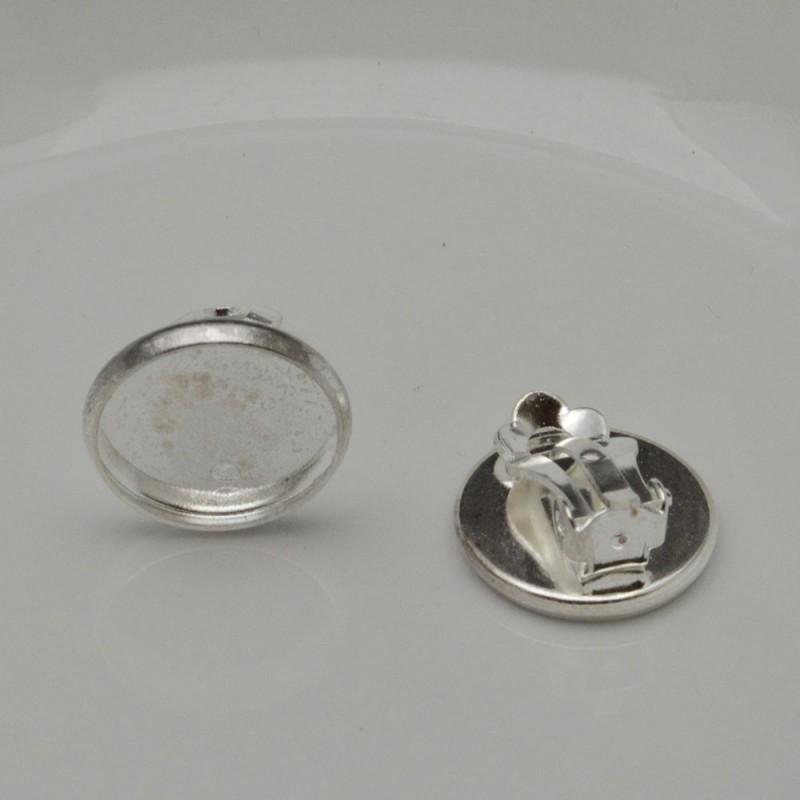 1 Paio CLIP base orecchini con piatto bordato 16 mm