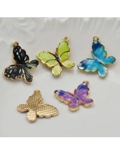 ciondolo forma a farfalla smaltato 17 x 20 in ottone 1pz fai da te