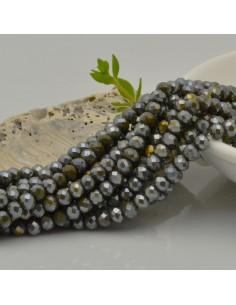 Filo cristallo Rondelle Cipollotti 3x4 mm briolette col verde militare rodiato grigio 150 pz per bigiotteria