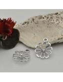 Ciondoli Charms forma fiore con strass 15.5 x 19 mm col argento in zama 1pz per le tue creazioni