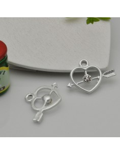 Ciondoli Charms cuore con freccia con strass 16 x 21 mm col argento in zama 1pz per le tue creazioni