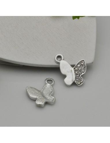 Ciondoli Charms farfalla con strass 15 mm in zama 1pz per le tue creazioni