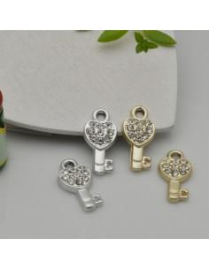 Ciondoli Charms chiavi con strass 9 x 18 mm in zama 1pz per le tue creazioni