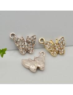 Ciondoli Charms farfalla con strass 16 x 18 mm in zama 1pz per le tue creazioni