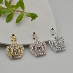 Ciondoli Charms corona con strass 14 x 21 mm in zama 1pz per le tue creazioni