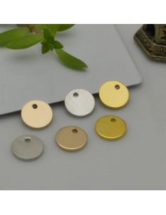 2 pz ciondolo medaglia piccoli lisci 8 mm con foro spessore 0.7 mm fai da te