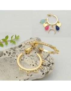 base orecchini cerchio zirconi con 5 anellini 23 mm a perni per ciondoli per le tue creazioni