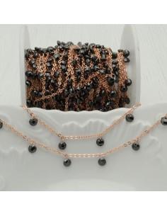 Catene in acciaio con zirconi anelli saldati oro rosa ogni 2 cm Con charm col spinello nero Taglio Brillante 4 mm per 50 cm