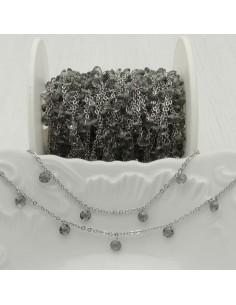 Catene in acciaio con zirconi anelli saldati ogni 2 cm Con charm Zirconi col grigio chiaro Taglio Brillante 4 mm per 50 cm