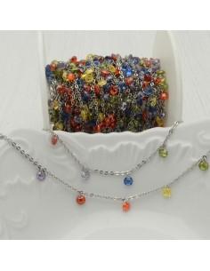 Catene in acciaio con zirconi anelli saldati ogni 2 cm Con charm Zirconi col mix multicol Taglio Brillante 4 mm per 50 cm