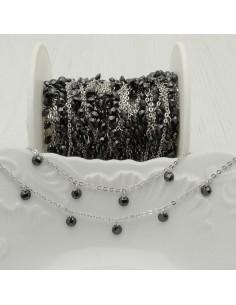 Catene in acciaio con zirconi anelli saldati ogni 2 cm Con charm Zirconi col nero spinello Taglio Brillante 4 mm per 50 cm