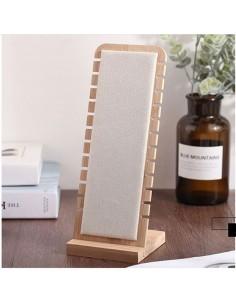 Espositore porta collana e bracciale 10 x 28 cm bambù Velluto colore panna vetrina