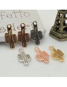 ciondolo forma Cactus piccoli 8 x 16 mm in ottone 2 pz per idea creare gioielli fai da te