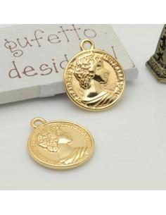 ciondolo medaglia forma di moneta 20 x 23 mm in ottone 1pz per gioielli fai da te