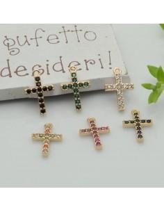 ciondoli croce con Strass zircone 9 x 14 mm 1pz in rame per le tue creazioni