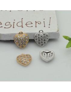 Charms cuore Strass zircone 9 mm 1pz in ottone per le tue creazioni