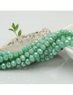 Filo mezzo cristallo Rondelle Cipollotti 4 x 6 mm briolette col verde tiffany AB 90 pz per fai da te