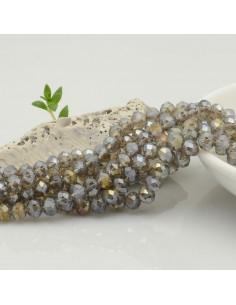 Filo mezzo cristallo Rondelle Cipollotti 4 x 6 mm briolette col fumè AB 90 pz  per fai da te