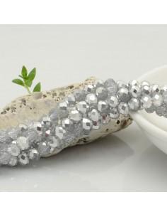 Filo mezzo cristallo Rondelle Cipollotti 4 x 6 mm briolette col trasparente e argento 90 pz per fai da te