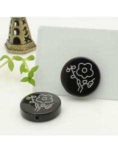 pietra onice incisa fiore rotonda piatta 20 mm con foro passante per tue creazioni
