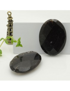 pietra quarzo rutilato nero sintetico forma ovale 30 x 40 mm con foro passante per tue creazioni