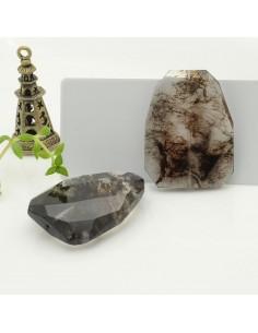 pietra quarzo rutilato nero sintetico forma rettangolo sfaccettata 30 x 40 mm con foro passante