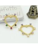 ciondolo a cuore vuota Strass zircone 24 mm 1pz in ottone per le tue gioielli