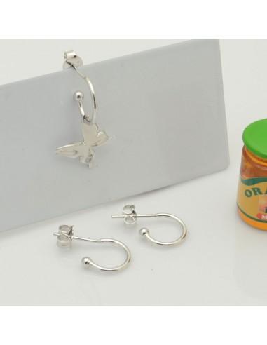 Orecchini mini cerchietti in argento 925 cerchio 11 mm spessore 1 mm per le tue creazioni