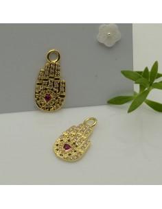 ciondolo mano di Fatima strass e zircone 11 x 22 mm 1pz col oro in ottone per le tue creazioni