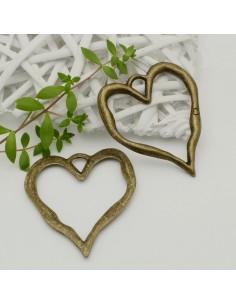 Pendente forma cuore vuota grande colore bronzo 66 x 80 mm per tuo creazione