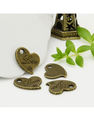 Ciondolo cuore con scritto 1.35x20 mm pz colore bronzo per le tue creazioni