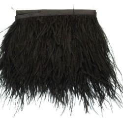 nappe piuma di struzzo Fringe piuma di struzzo altezza 16cm col nero