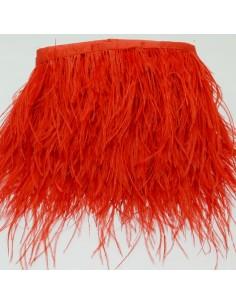 nappe piuma di struzzo Fringe piuma di struzzo altezza 16cm col rosso prezzo di confezione 20cm