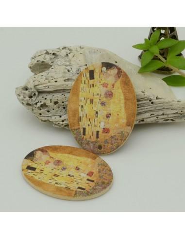 2 PZ Ciondoli Elemento 2 FORI pendente in legno con disegno 25 x 35 mm per orecchini