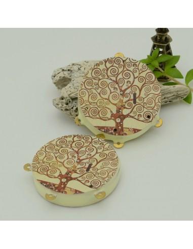 tamburelli siciliani 52 x 60 mm bordo panna con disegni Albero della vita 3 anellini per ganci ciondoli fai da te